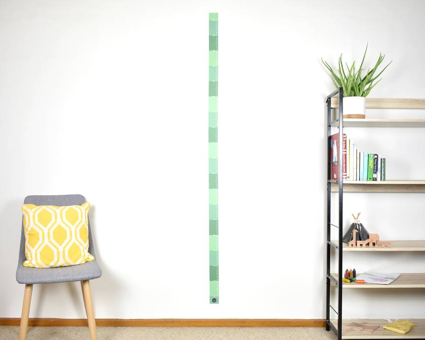 Skinny height chart wall decal – jungle green