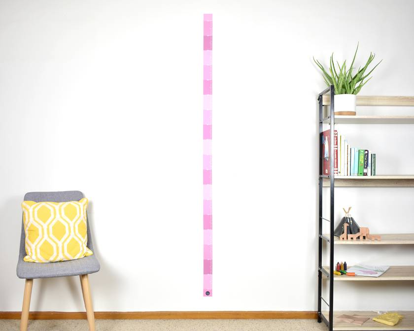 Skinny height chart wall decal – dusky pink