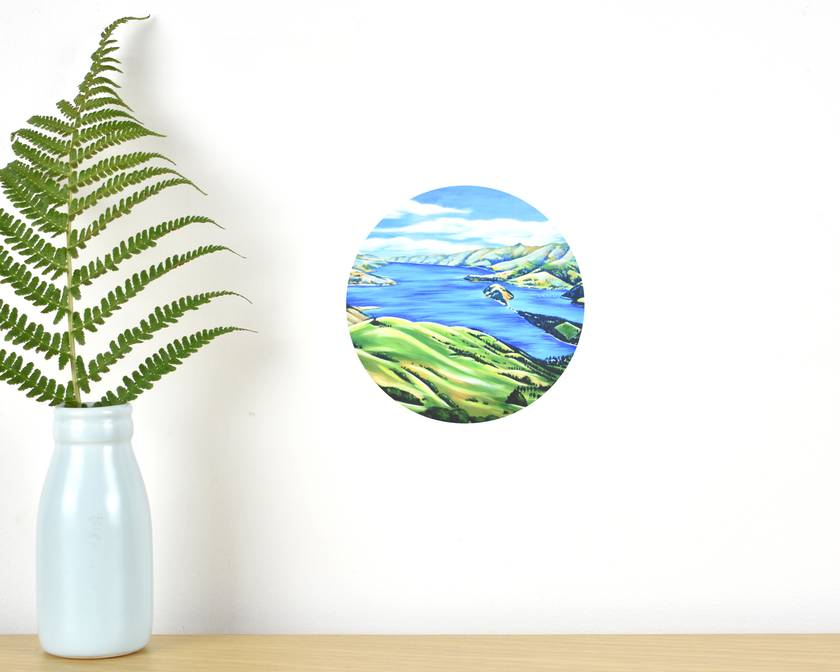 Akaroa Harbour tiny dot wall decal by Ira Mitchell