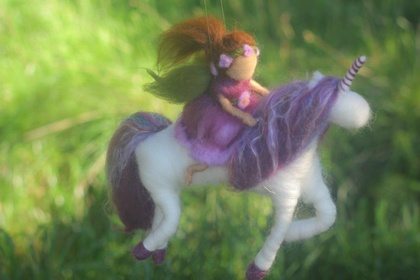 Purple Fairy Riding her Purple Unicorn