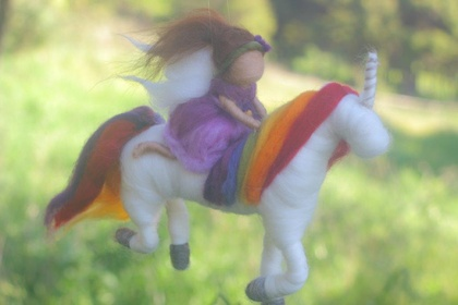 Purple Fairy Riding her Rainbow Unicorn