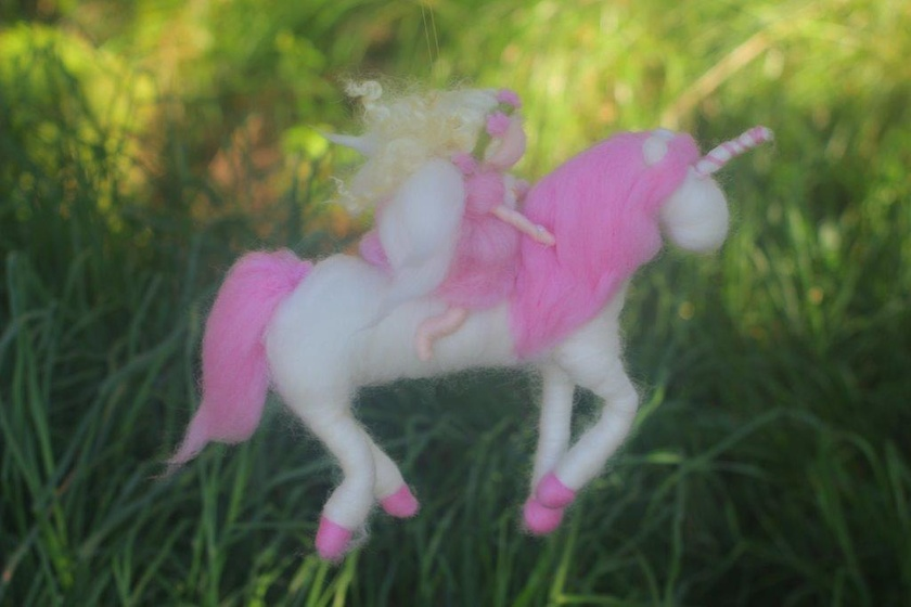 Pink Fairy Riding her Pink Unicorn