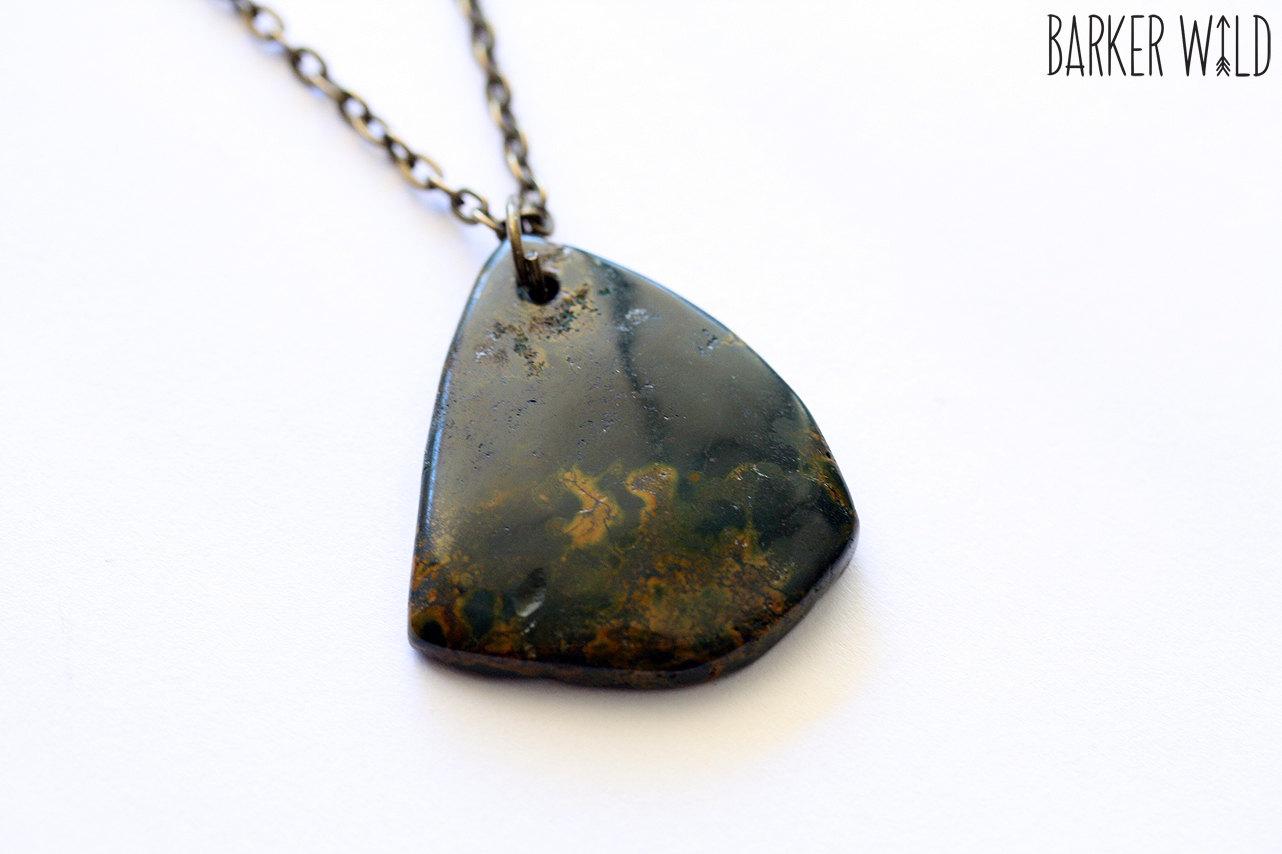 moss agate pendant mineral rock boho