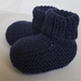 Merino Hand Knitted Booties - 0 to 3 months Navy Blue