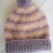 100% Wool Hand Knitted Beanie - 0 to 3 months Lavender/Pink/Cream