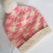 100% Wool Hand Knitted Beanie - 0 to 3 months Pink/Cream Mix