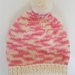 100% Wool Hand Knitted Beanie - 3 to 6 months Pink/Cream Mix