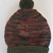 100% Wool Hand Knitted Beanie - 3 to 6 months Olive Green Mix
