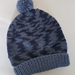 100% Wool Hand Knitted Beanie - 6 to 12 months Blue Mix