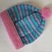 100% Wool Hand Knitted Beanie - 1 to 2 years Pink/Blue/Aqua