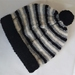 100% Wool Hand Knitted Beanie -  2 to 4 years  Black / White / Grey