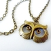 Owl - twit tuwoo cool, Antiqued Pendant and chain