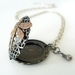 Locket - Dark filigree Silver with a dragonfly, swarovski and a pearl. Perfume Locket