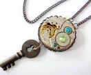 Vintage Pendant, Steampunk Inspired with Swarovski crystal - Timeless Relic