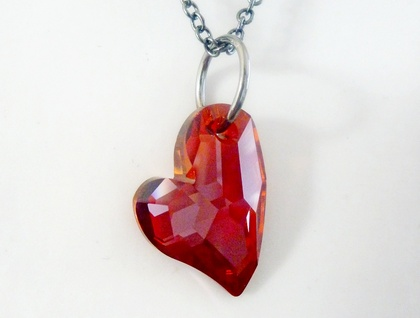 A Devoted Heart - Swarovski Crystal in Red with Gunmetal Black - Funky Glamour