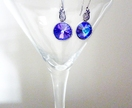 Swarovski Crystal Earrings - Purpley Blue & Antiqued Silver