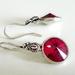Swarovski Crystal Earrings - Red & Antiqued Silver