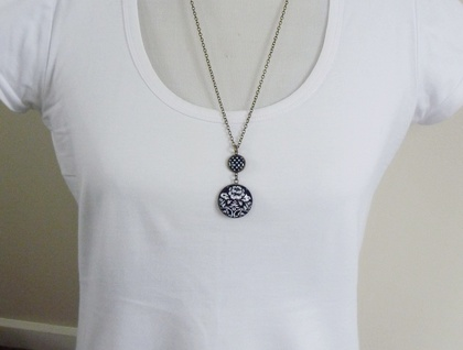 Double Drop Pendant in Classic Black and White