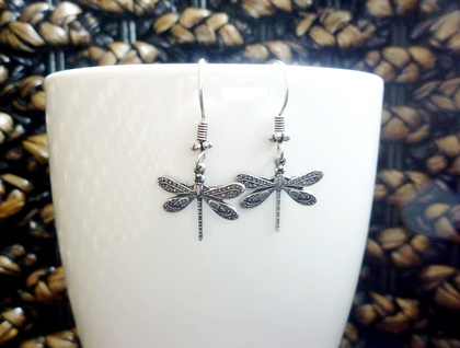 Funky Earrings - Antiqued Silver Dragonfly