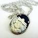 Dragonfly Cameo in an antiqued silver frame with funky chunky chain - SALE-Last One!