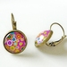 Earrings - Dotty Pink - Glass dome with antiqued Brass