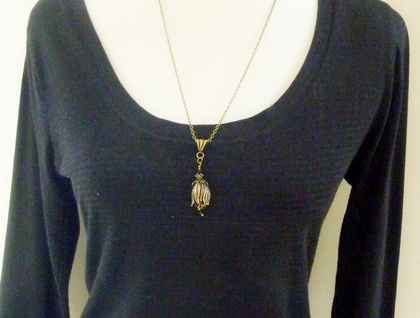 Gorgeous Antiqued Brass Tulip or Kōwhai Pendant with Matching Bail and Chain