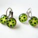 Earrings - Dotty Green - Glass dome with antiqued Brass or Silver settings