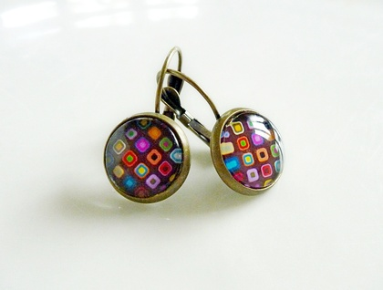 Earrings - Retro Dots - Glass dome with antiqued Brass