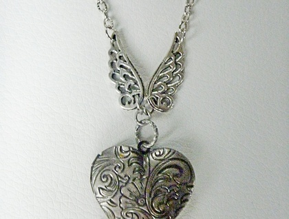 Winged Heart Locket - Opening Locket with Filigree wings