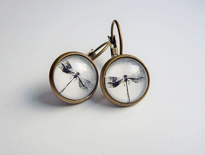 Earrings - Dragonfly Artwork - Glass dome with antiqued Brass