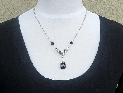 Best Dressed Beauty - Jet Black Swarovski with Silver - Vintage Glamour