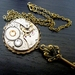 Steampunk Inspired Pendant - Vintage watch movement with crown topped key dangle and Swarovski crystals - Price reduced SALE