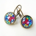 Earrings - Funky Bright - Glass dome with Antiqued Brass or Silver
