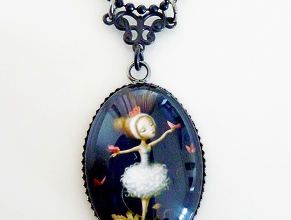 Beautiful Ballerina - Glass Dome Pendant with Filigree detail