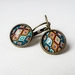 Earrings - Geometric Tapestry - Glass dome with Antiqued Brass or Silver Settings