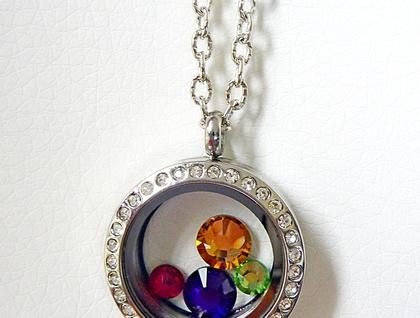 Silver Window Locket - Crystals galore, Swarovski Stunners