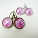 Earrings - Gorgeous Raspberry Pink - Glass dome