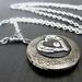 Angel Wing Heart Locket in Dark Antiqued Silver with Crystal - Memory Keeper