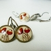 Earrings - Red Poppies - Glass dome with Antiqued Brass or Silver Settings - ANZAC