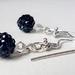 Earrings - Black Rhinestone Crystal Ball Glamour