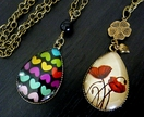 Teardrop Glass Dome pendant. Poppies (ANZAC) or Hearts (LOVE), you choose which design