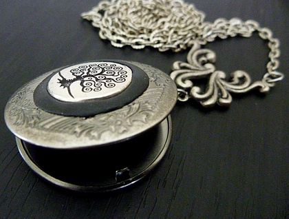 Tree of Life Locket in Dark Antiqued Silver - Memory Keeper