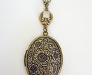 Gorgeous Floral Locket in Antiqued Brass - Vintage Chic Memory Keeper