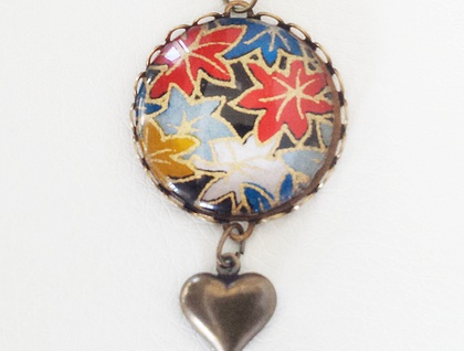 Glass Dome Pendant - Metallic Japanese Washi Antiqued Brass with a heart dangle