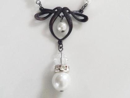 Art Nouveau Necklace - Pearl & Crystal Wedding Glam