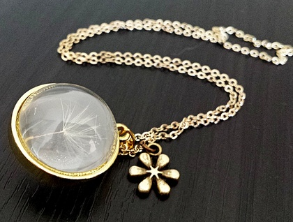A Fairy wish - Dandelion seed in a glass dome - Silver or Gold version.