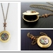 Polished Brass Locket with Vintage Watch movement - Funky Steel Timeless Relic with Swarovski
