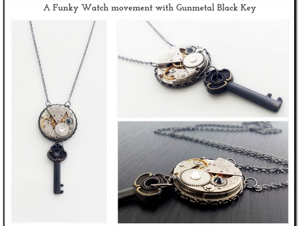 A Funky Watch movement with Gunmetal Black Key - Steampunk Inspired Timeless Relic - ON SALE