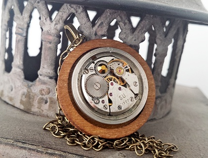 Industrial Chic - Vintage Watch Movement with Wood & Swarovski, Steampunk Senstion - ON SALE
