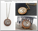 Industrial Chic - Vintage Watch Movement with Wood & Swarovski, Steampunk Senstion